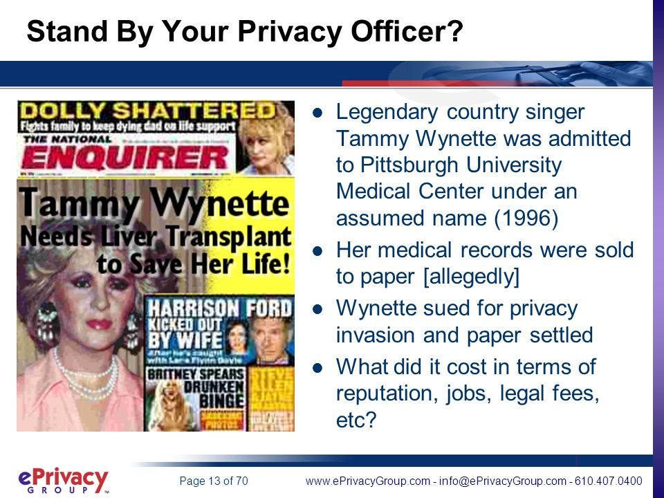 www.ePrivacyGroup.com - info@ePrivacyGroup.com - 610.407.0400Page 13 of 70 Stand By Your Privacy Officer.