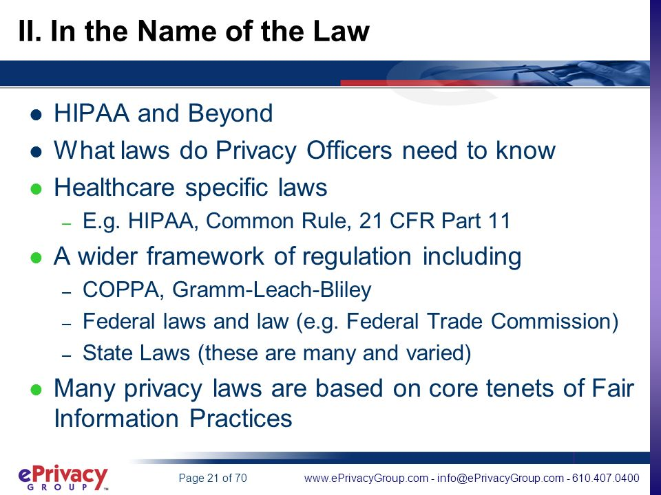 www.ePrivacyGroup.com - info@ePrivacyGroup.com - 610.407.0400Page 21 of 70 II.