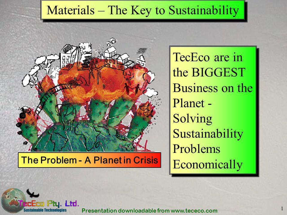 Presentation downloadable from www.tececo.com 22 Abatement and Sequestration To solve the greenhouse gas problem our approach should be holistically balanced and involve –Everybody, every day –Be easy –Make money TecEco-cements = Low emissions production, mineral sequestration + waste utilization Geological Seques- tration Emissions reduction through efficiency and conversion to non fossil fuels + + TecEcos Contribution New technical paradigms are required Abatement Sequestration and
