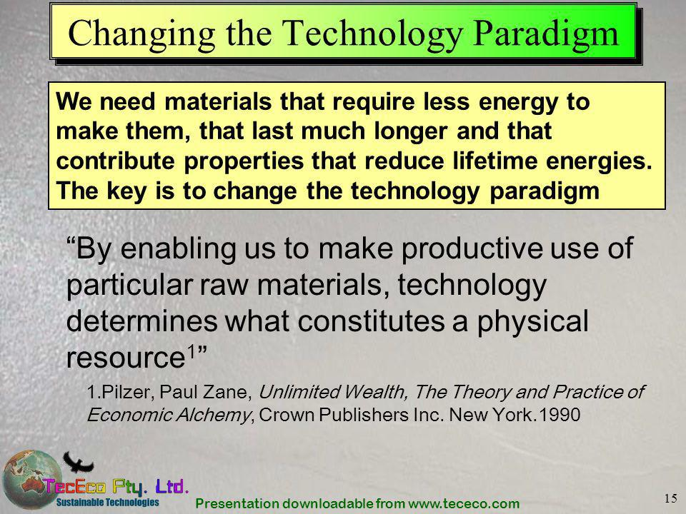 Presentation downloadable from www.tececo.com 15 Changing the Technology Paradigm By enabling us to make productive use of particular raw materials, t
