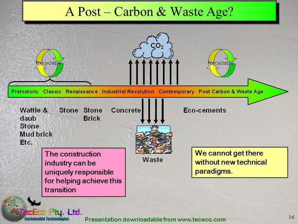 Presentation downloadable from www.tececo.com 16 A Post – Carbon & Waste Age? The construction industry can be uniquely responsible for helping achiev
