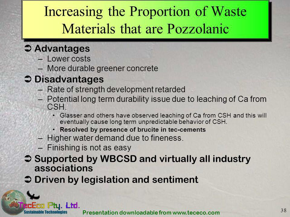 Presentation downloadable from www.tececo.com 38 Increasing the Proportion of Waste Materials that are Pozzolanic Advantages –Lower costs –More durabl