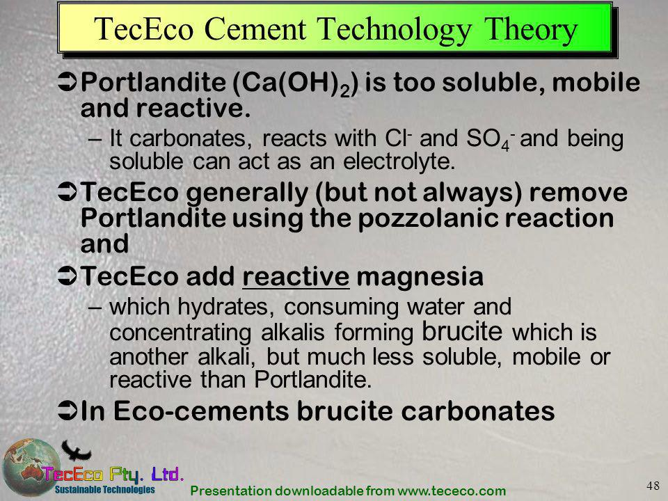 Presentation downloadable from www.tececo.com 48 TecEco Cement Technology Theory Portlandite (Ca(OH) 2 ) is too soluble, mobile and reactive. –It carb