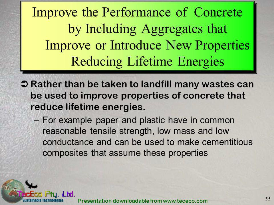 Presentation downloadable from www.tececo.com 55 Improve the Performance of Concrete by Including Aggregates that Improve or Introduce New Properties