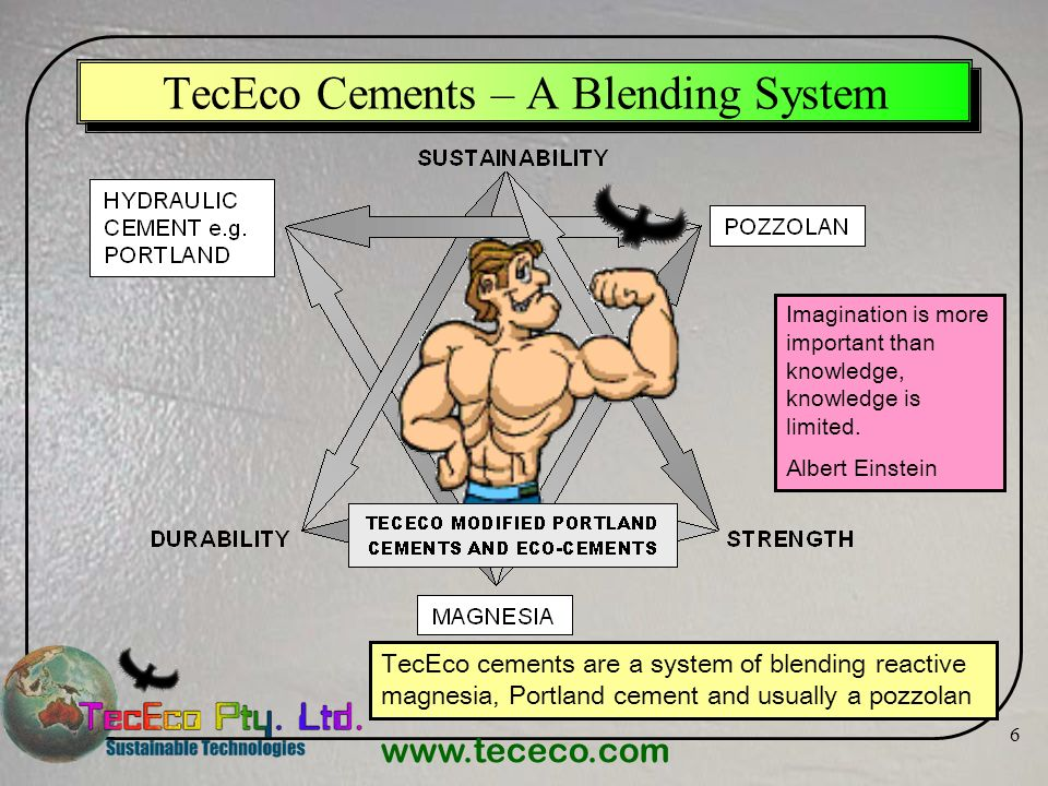 www.tececo.com 6 TecEco Cements – A Blending System TecEco cements are a system of blending reactive magnesia, Portland cement and usually a pozzolan