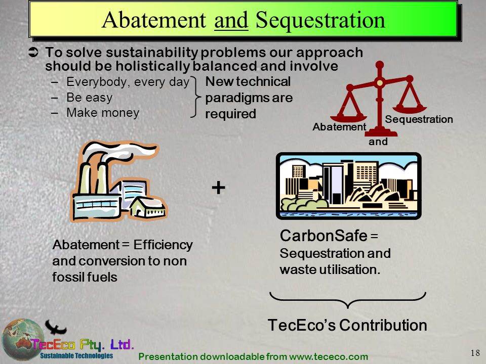 Presentation downloadable from www.tececo.com 18 Abatement and Sequestration To solve sustainability problems our approach should be holistically bala