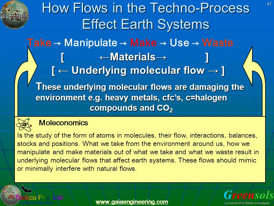 Greensols permanent CO2 fixation technologies www.gaiaengineering.com 17 How Flows in the Techno-Process Effect Earth Systems Take Manipulate Make Use