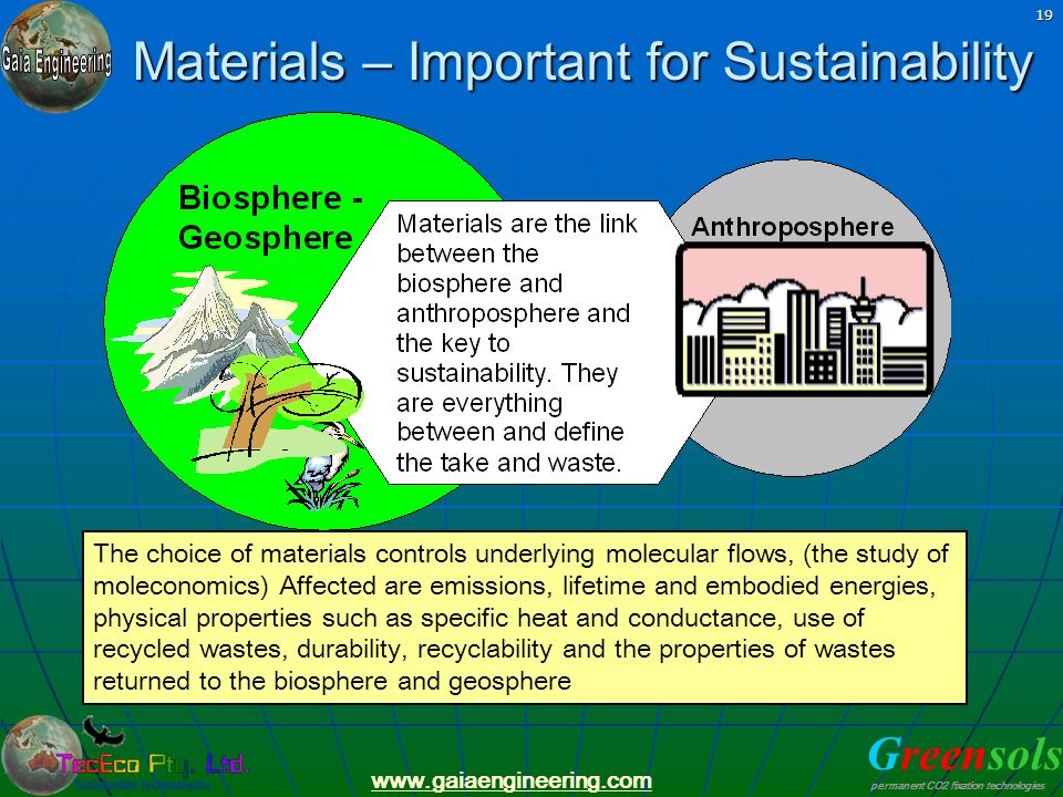 Greensols permanent CO2 fixation technologies www.gaiaengineering.com 19 Materials – Important for Sustainability The choice of materials controls und