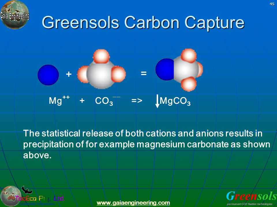 Greensols permanent CO2 fixation technologies www.gaiaengineering.com 45 Greensols Carbon Capture The statistical release of both cations and anions r