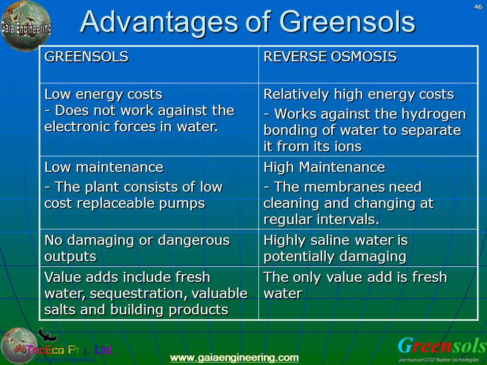 Greensols permanent CO2 fixation technologies www.gaiaengineering.com 46 Advantages of Greensols GREENSOLS REVERSE OSMOSIS Low energy costs - Does not