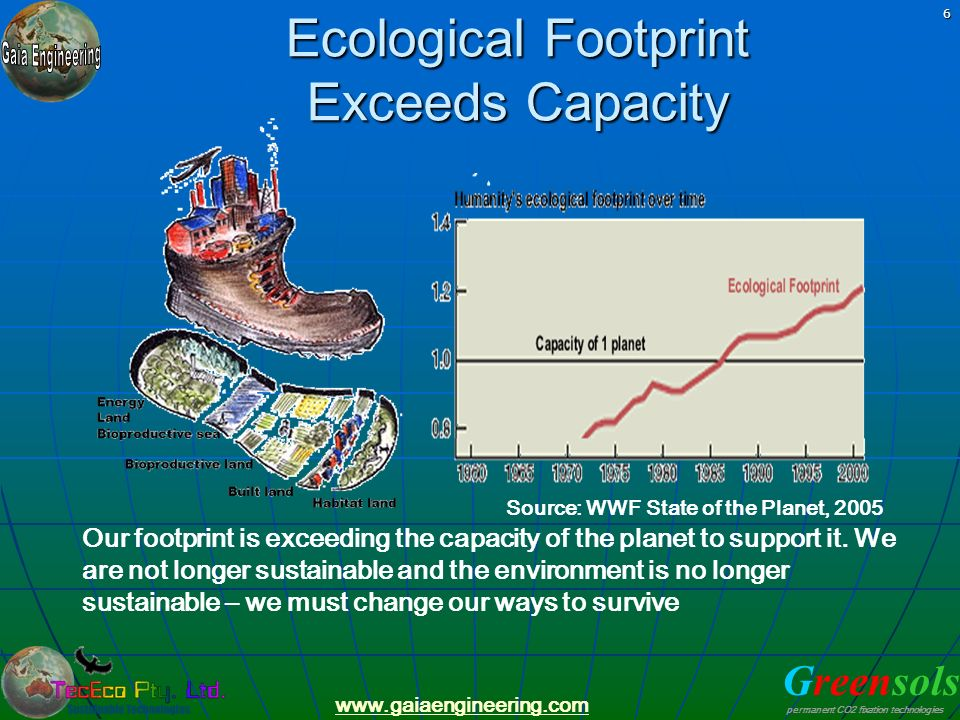 Greensols permanent CO2 fixation technologies www.gaiaengineering.com 6 Ecological Footprint Exceeds Capacity Our footprint is exceeding the capacity