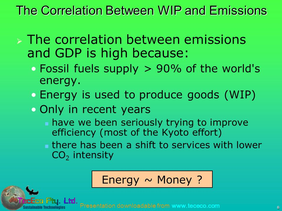 Presentation downloadable from www.tececo.com 8 The correlation between emissions and GDP is high because: Fossil fuels supply > 90% of the world s energy.