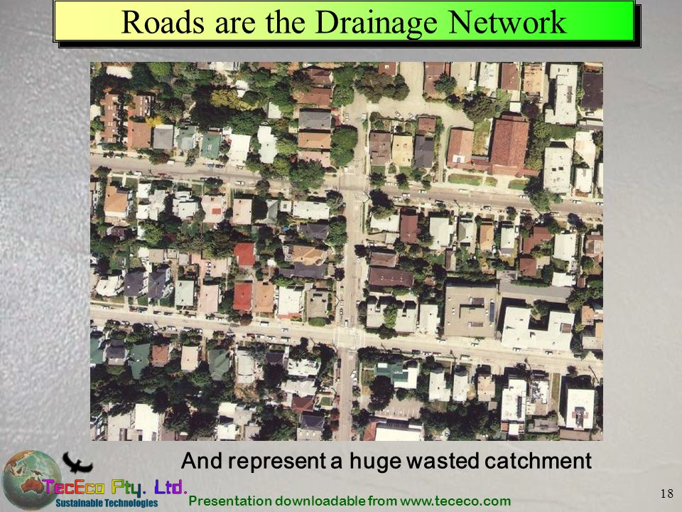 Presentation downloadable from www.tececo.com 18 Roads are the Drainage Network And represent a huge wasted catchment