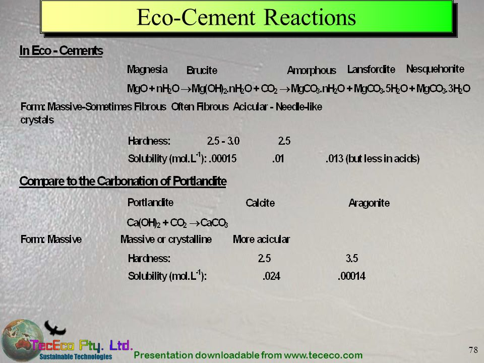 Presentation downloadable from www.tececo.com 78 Eco-Cement Reactions
