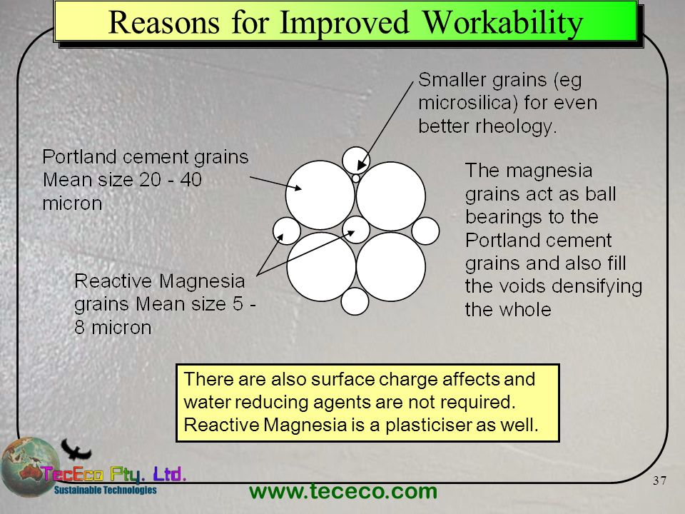 www.tececo.com 37 Reasons for Improved Workability There are also surface charge affects and water reducing agents are not required. Reactive Magnesia