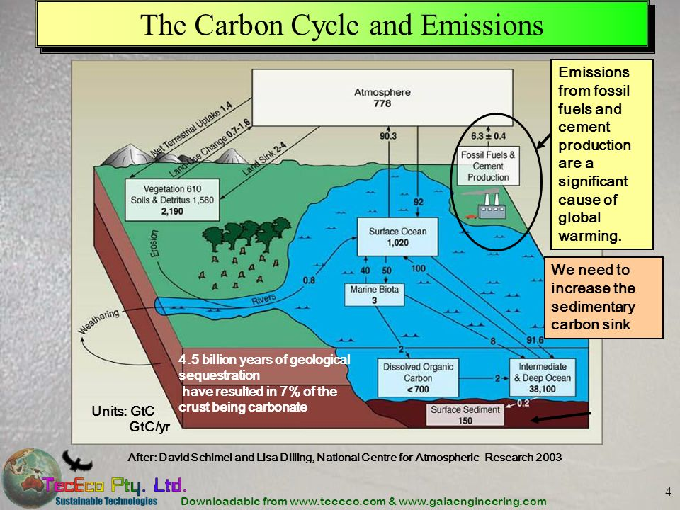 Downloadable from www.tececo.com & www.gaiaengineering.com 4 The Carbon Cycle and Emissions After: David Schimel and Lisa Dilling, National Centre for