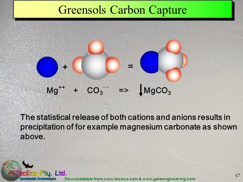 Downloadable from www.tececo.com & www.gaiaengineering.com 47 Greensols Carbon Capture The statistical release of both cations and anions results in p