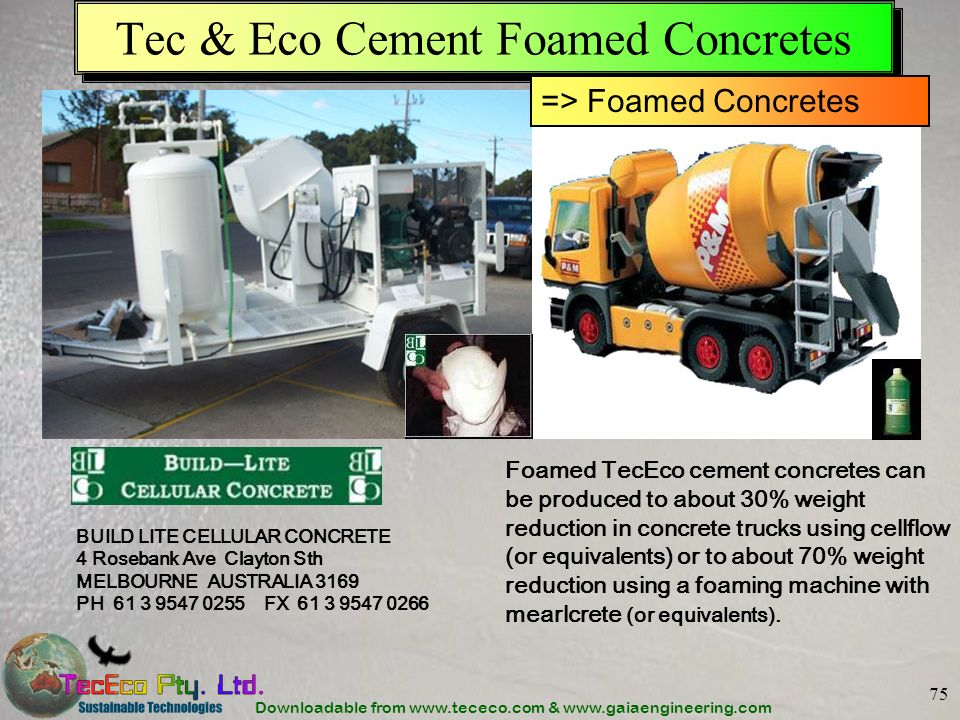 Downloadable from www.tececo.com & www.gaiaengineering.com 75 Tec & Eco Cement Foamed Concretes BUILD LITE CELLULAR CONCRETE 4 Rosebank Ave Clayton St
