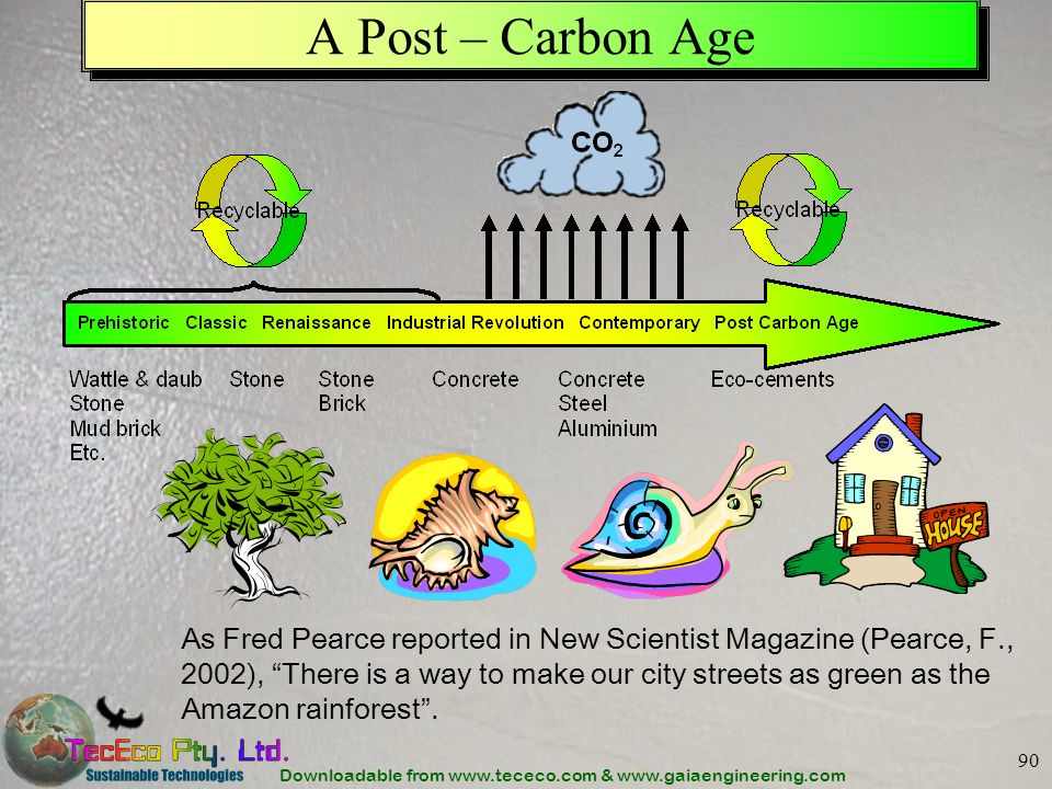 Downloadable from www.tececo.com & www.gaiaengineering.com 90 A Post – Carbon Age As Fred Pearce reported in New Scientist Magazine (Pearce, F., 2002)