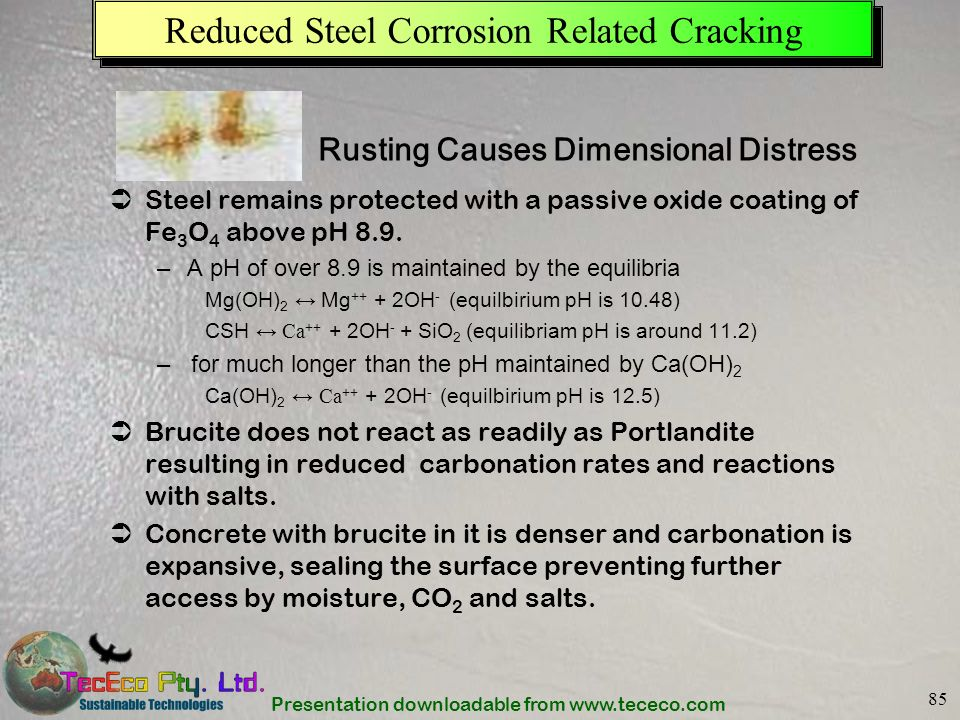 Presentation downloadable from www.tececo.com 85 Reduced Steel Corrosion Related Cracking Steel remains protected with a passive oxide coating of Fe 3