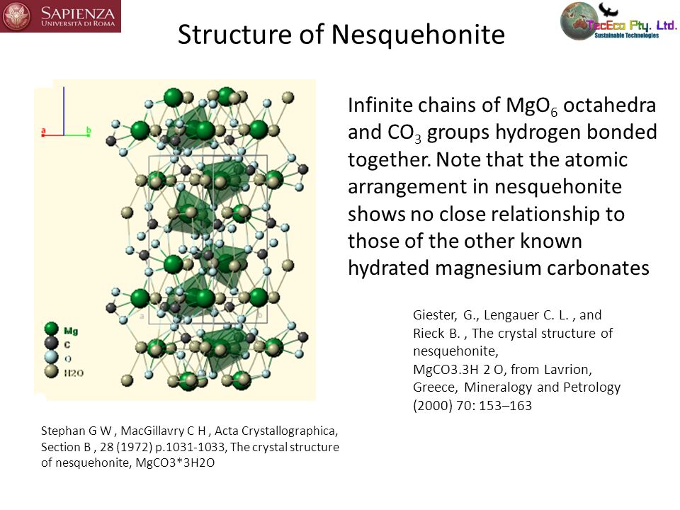 Structure of Nesquehonite Stephan G W, MacGillavry C H, Acta Crystallographica, Section B, 28 (1972) p.1031-1033, The crystal structure of nesquehonit