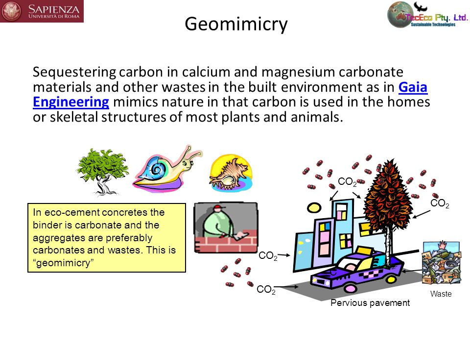 Geomimicry Sequestering carbon in calcium and magnesium carbonate materials and other wastes in the built environment as in Gaia Engineering mimics na