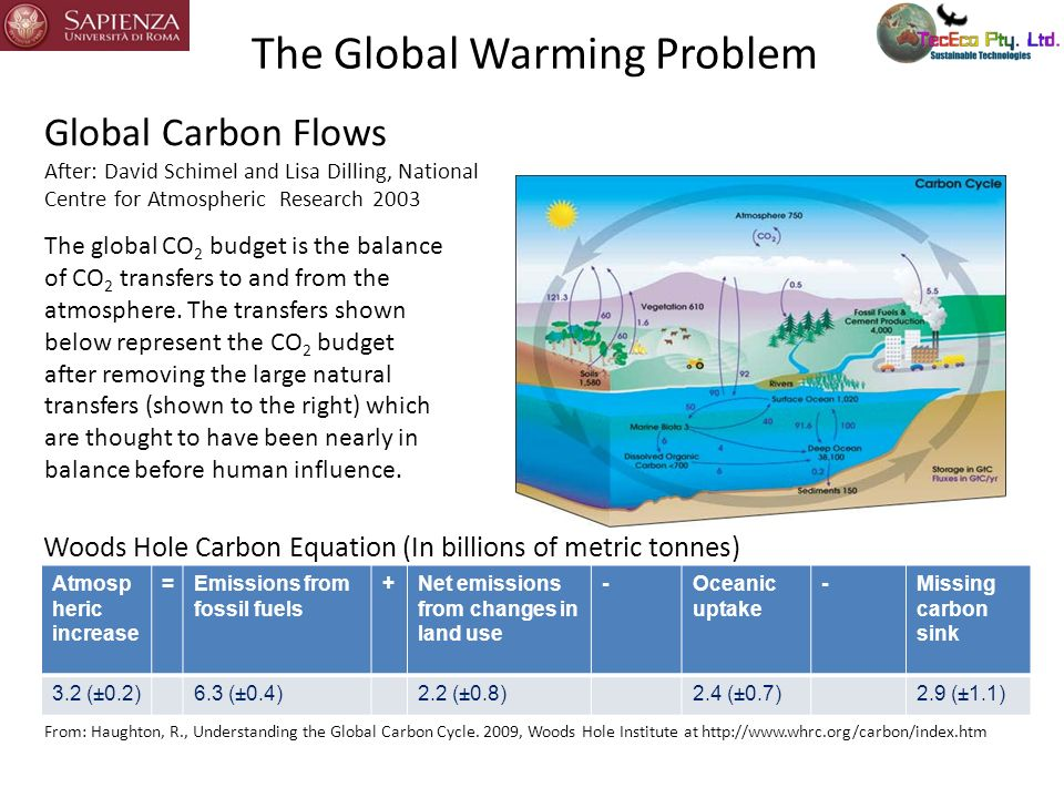 Net Atmospheric Increase in Terms of Billions of Tonnes CO 2 Atmospheric increase =Emissions from fossil fuels +Net emissions from changes in land use -Oceanic uptake -Missing carbon sink 3.2 (±0.2)6.3 (±0.4)2.2 (±0.8)2.4 (±0.7)2.9 (±1.1) Converting to tonnes CO 2 in the same units by multiplying by 44.01/12.01, the ratio of the respective molecular weights.