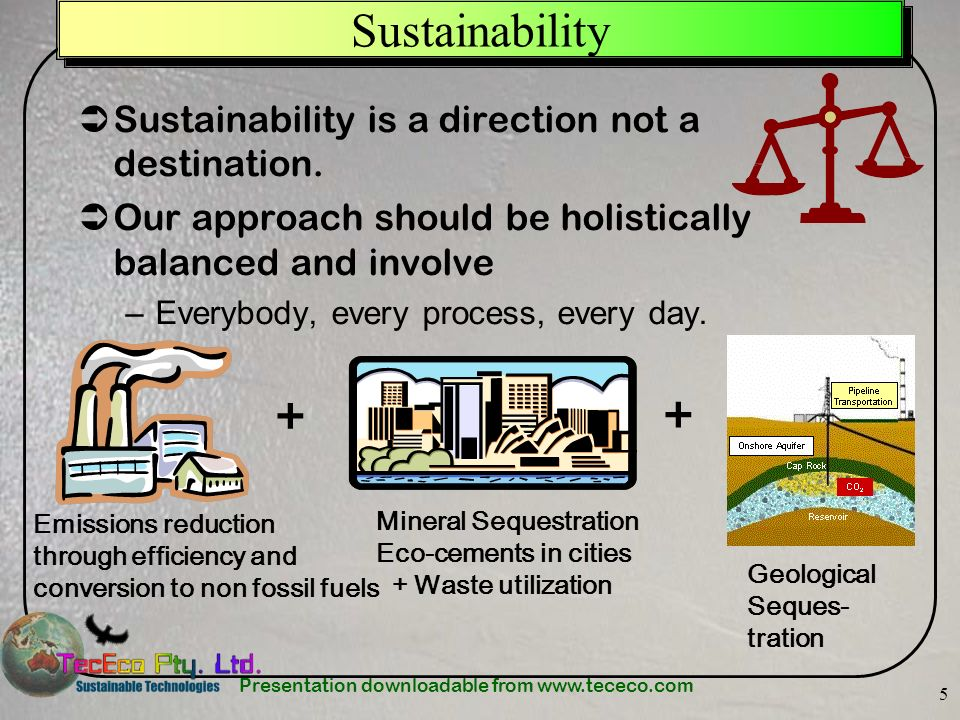 Presentation downloadable from www.tececo.com 5 Sustainability Sustainability is a direction not a destination.