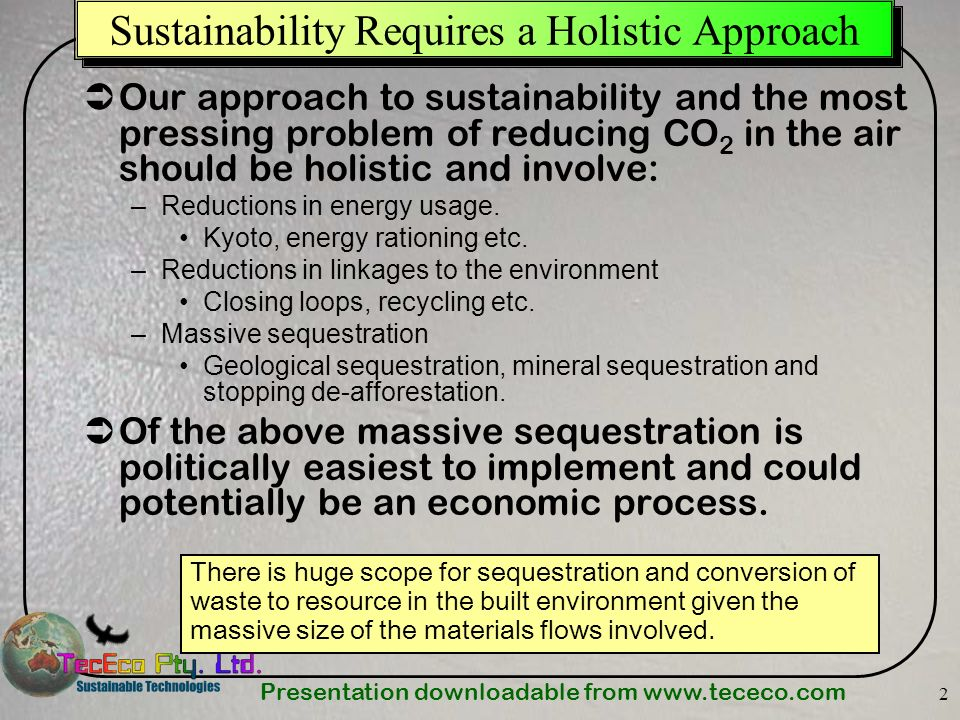 Presentation downloadable from www.tececo.com 13 Our Linkages to the Environment Must be Reduced