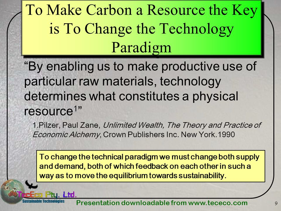 Presentation downloadable from www.tececo.com 20 Materials - the Key to Sustainability Materials are the key to our survival on the planet.