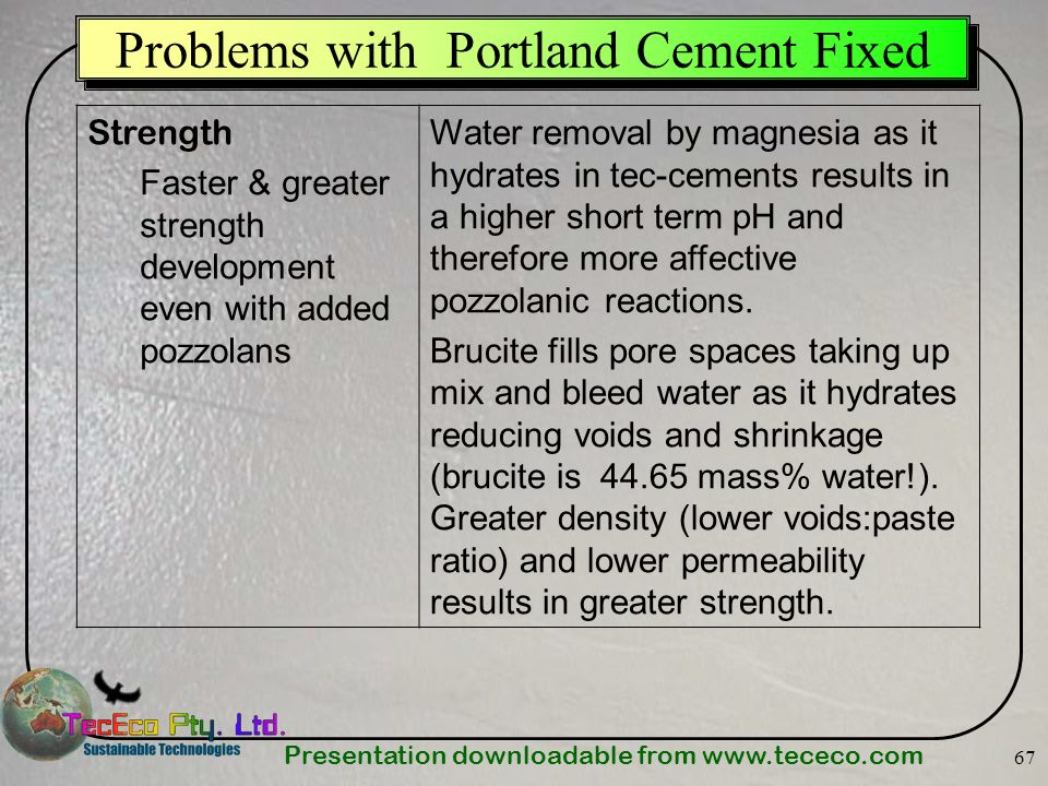 Presentation downloadable from www.tececo.com 67 Strength Faster & greater strength development even with added pozzolans Water removal by magnesia as