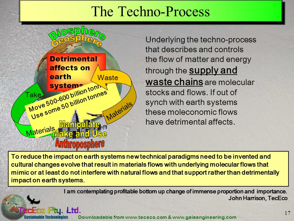 Downloadable from www.tececo.com & www.gaiaengineering.com 17 The Techno-Process Underlying the techno-process that describes and controls the flow of matter and energy through the supply and waste chains are molecular stocks and flows.