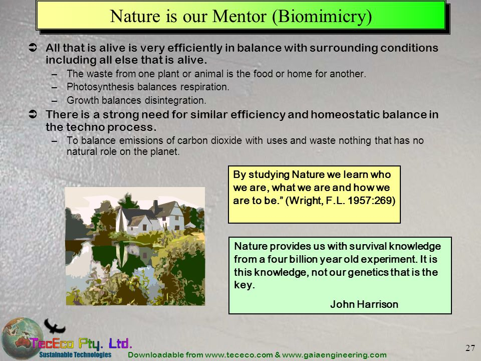 Downloadable from www.tececo.com & www.gaiaengineering.com 27 Nature is our Mentor (Biomimicry) All that is alive is very efficiently in balance with surrounding conditions including all else that is alive.