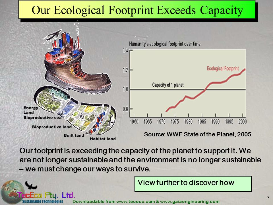 Downloadable from www.tececo.com & www.gaiaengineering.com 3 Our Ecological Footprint Exceeds Capacity Our footprint is exceeding the capacity of the planet to support it.