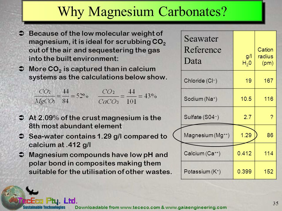 Downloadable from www.tececo.com & www.gaiaengineering.com 35 Why Magnesium Carbonates.
