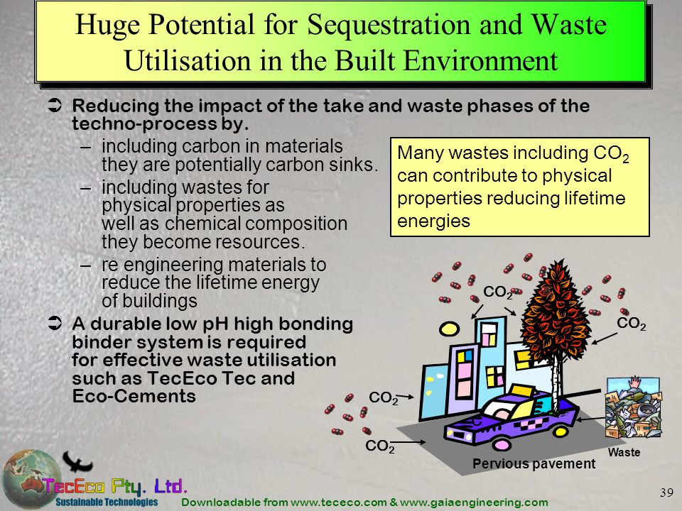 Downloadable from www.tececo.com & www.gaiaengineering.com 39 Huge Potential for Sequestration and Waste Utilisation in the Built Environment Reducing the impact of the take and waste phases of the techno-process by.