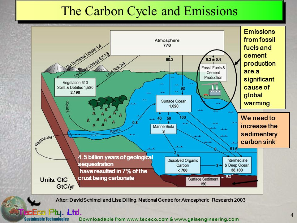 Downloadable from www.tececo.com & www.gaiaengineering.com 4 The Carbon Cycle and Emissions After: David Schimel and Lisa Dilling, National Centre for Atmospheric Research 2003 Emissions from fossil fuels and cement production are a significant cause of global warming.