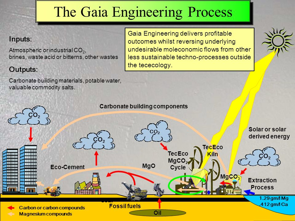 Downloadable from www.tececo.com & www.gaiaengineering.com 42 The Gaia Engineering Process Extraction Process Fossil fuels Solar or solar derived energy Oil MgO CO 2 Coal CO 2 Inputs: Atmospheric or industrial CO 2, brines, waste acid or bitterns, other wastes Outputs: Carbonate building materials, potable water, valuable commodity salts.