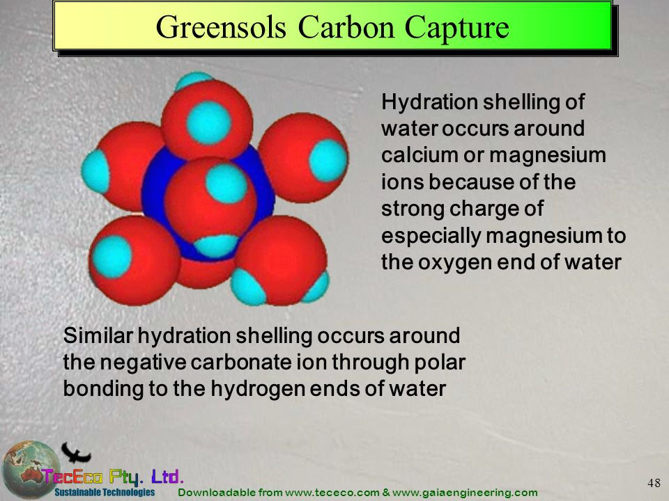 Downloadable from www.tececo.com & www.gaiaengineering.com 48 Greensols Carbon Capture Hydration shelling of water occurs around calcium or magnesium ions because of the strong charge of especially magnesium to the oxygen end of water Similar hydration shelling occurs around the negative carbonate ion through polar bonding to the hydrogen ends of water