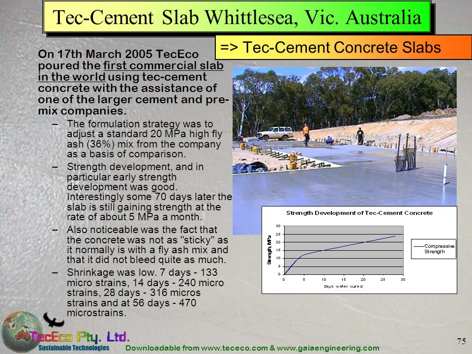 Downloadable from www.tececo.com & www.gaiaengineering.com 75 Tec-Cement Slab Whittlesea, Vic.