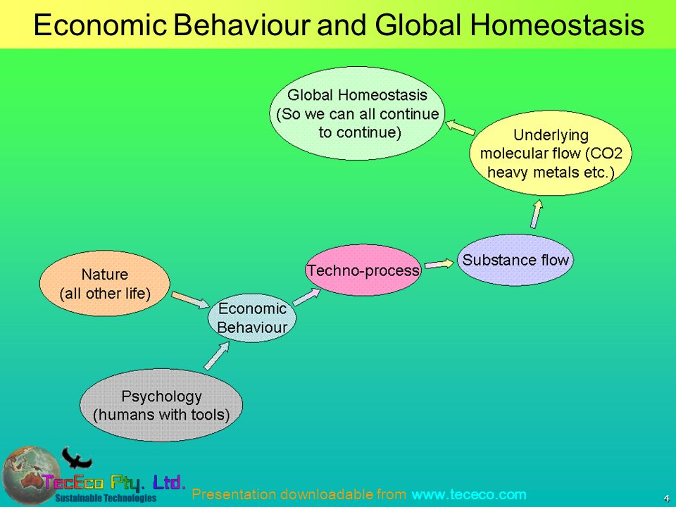 Presentation downloadable from www.tececo.com 4 Economic Behaviour and Global Homeostasis