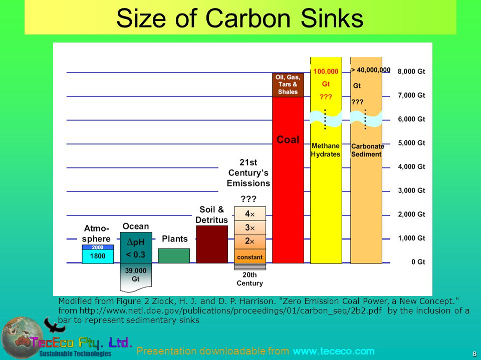 8 Size of Carbon Sinks Modified from Figure 2 Ziock, H. J. and D. P. Harrison.