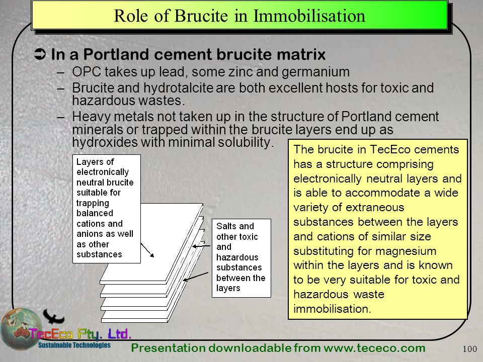 Presentation downloadable from Role of Brucite in Immobilisation In a Portland cement brucite matrix –OPC takes up lead, some zinc and germanium –Brucite and hydrotalcite are both excellent hosts for toxic and hazardous wastes.