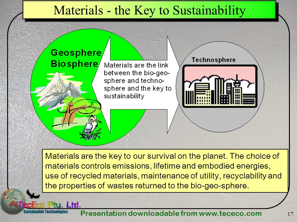 Presentation downloadable from   17 Materials - the Key to Sustainability Materials are the key to our survival on the planet.