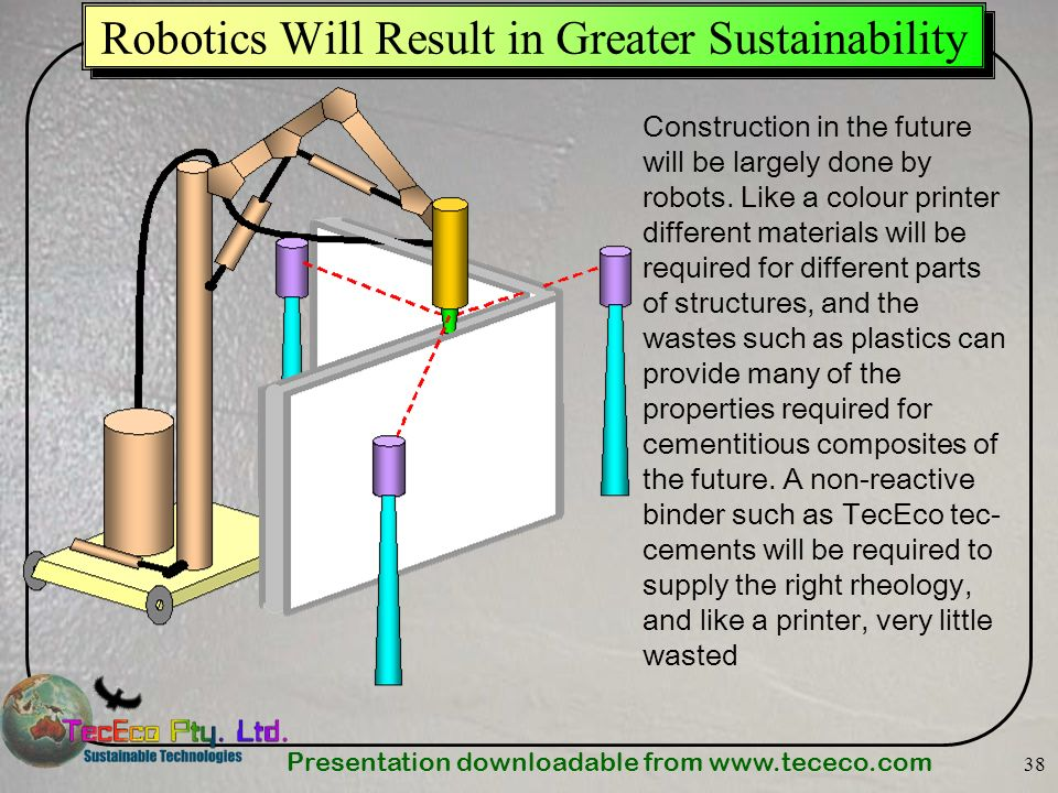 Presentation downloadable from   38 Robotics Will Result in Greater Sustainability Construction in the future will be largely done by robots.
