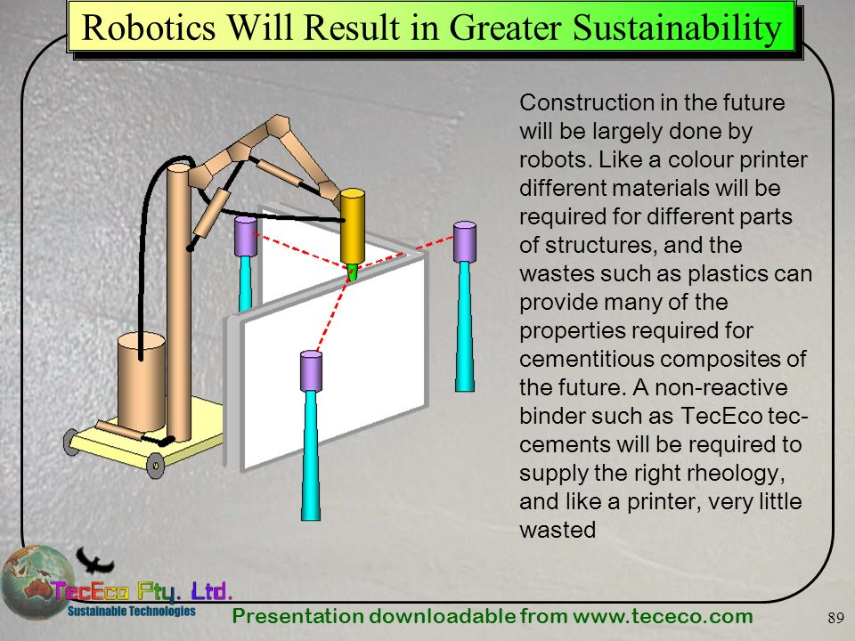 Presentation downloadable from   89 Robotics Will Result in Greater Sustainability Construction in the future will be largely done by robots.