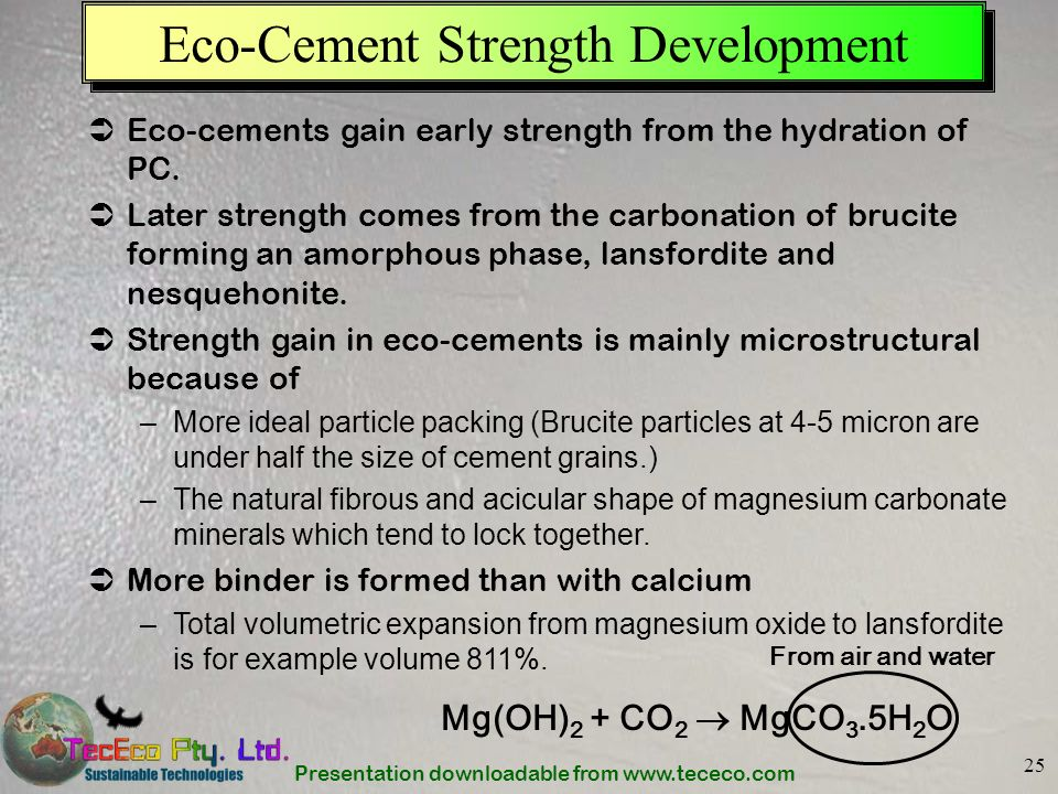Presentation downloadable from www.tececo.com 25 Eco-Cement Strength Development Eco-cements gain early strength from the hydration of PC. Later stren