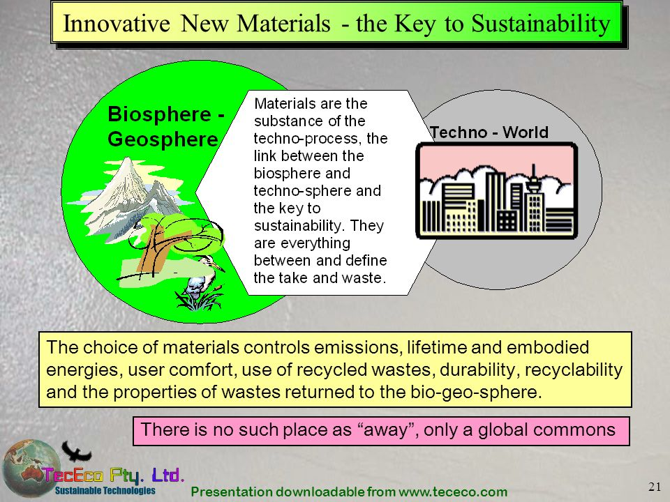 Presentation downloadable from www.tececo.com 21 Innovative New Materials - the Key to Sustainability There is no such place as away, only a global co