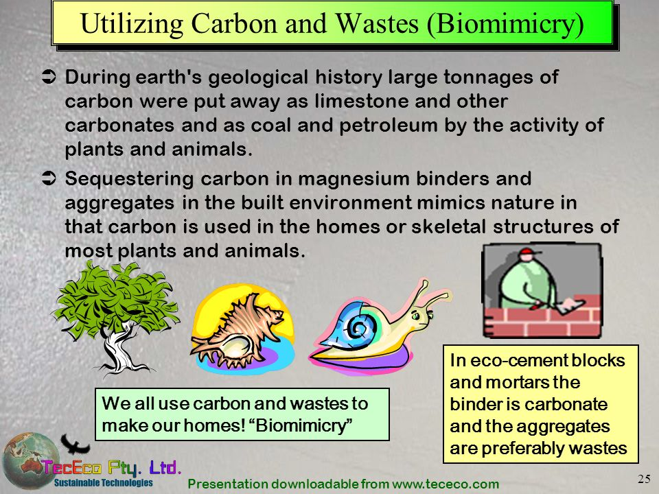 Presentation downloadable from www.tececo.com 25 Utilizing Carbon and Wastes (Biomimicry) During earth's geological history large tonnages of carbon w