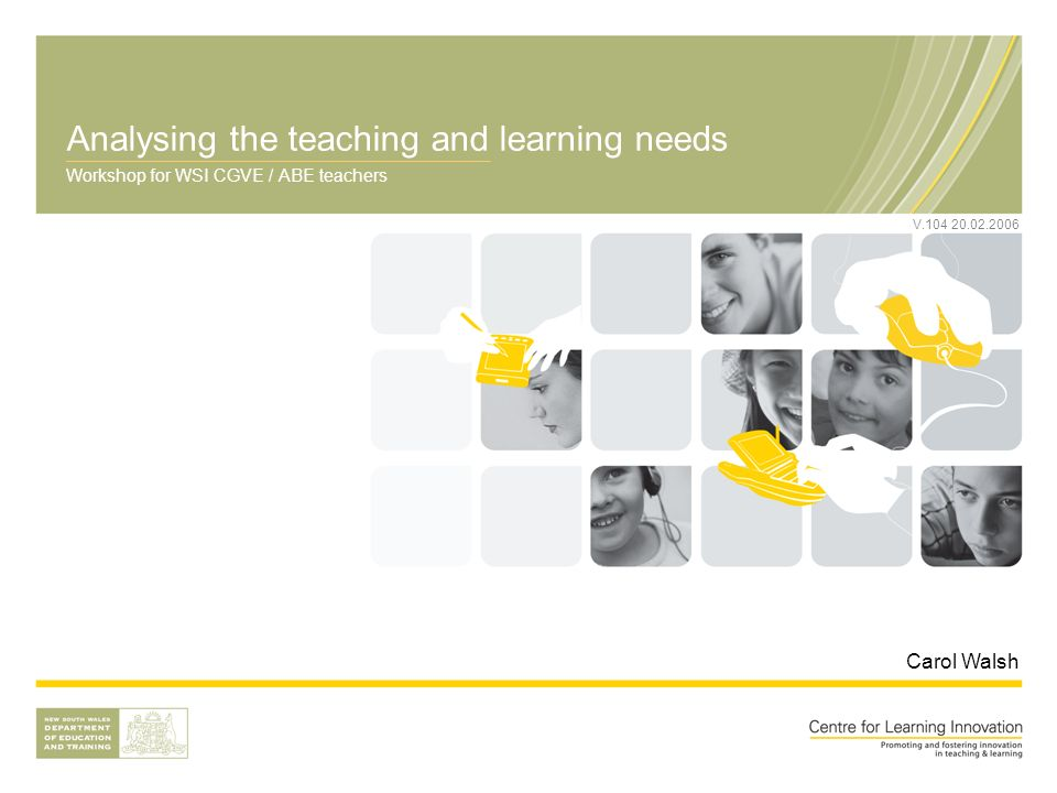 Analysing the teaching and learning needs Workshop for WSI CGVE / ABE teachers Carol Walsh V